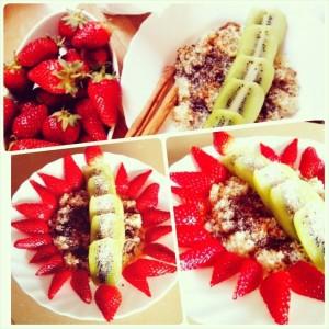 Протеинова закуска с ягоди и киви